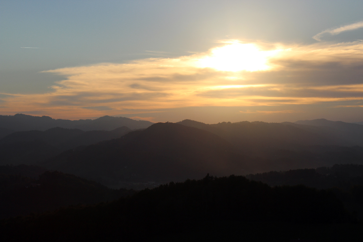 Sunset over the hills of Southern Styria