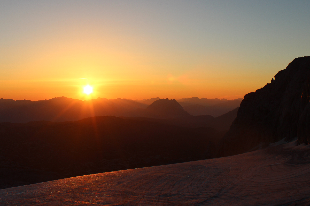 Sunrise on the Dachstein glacier