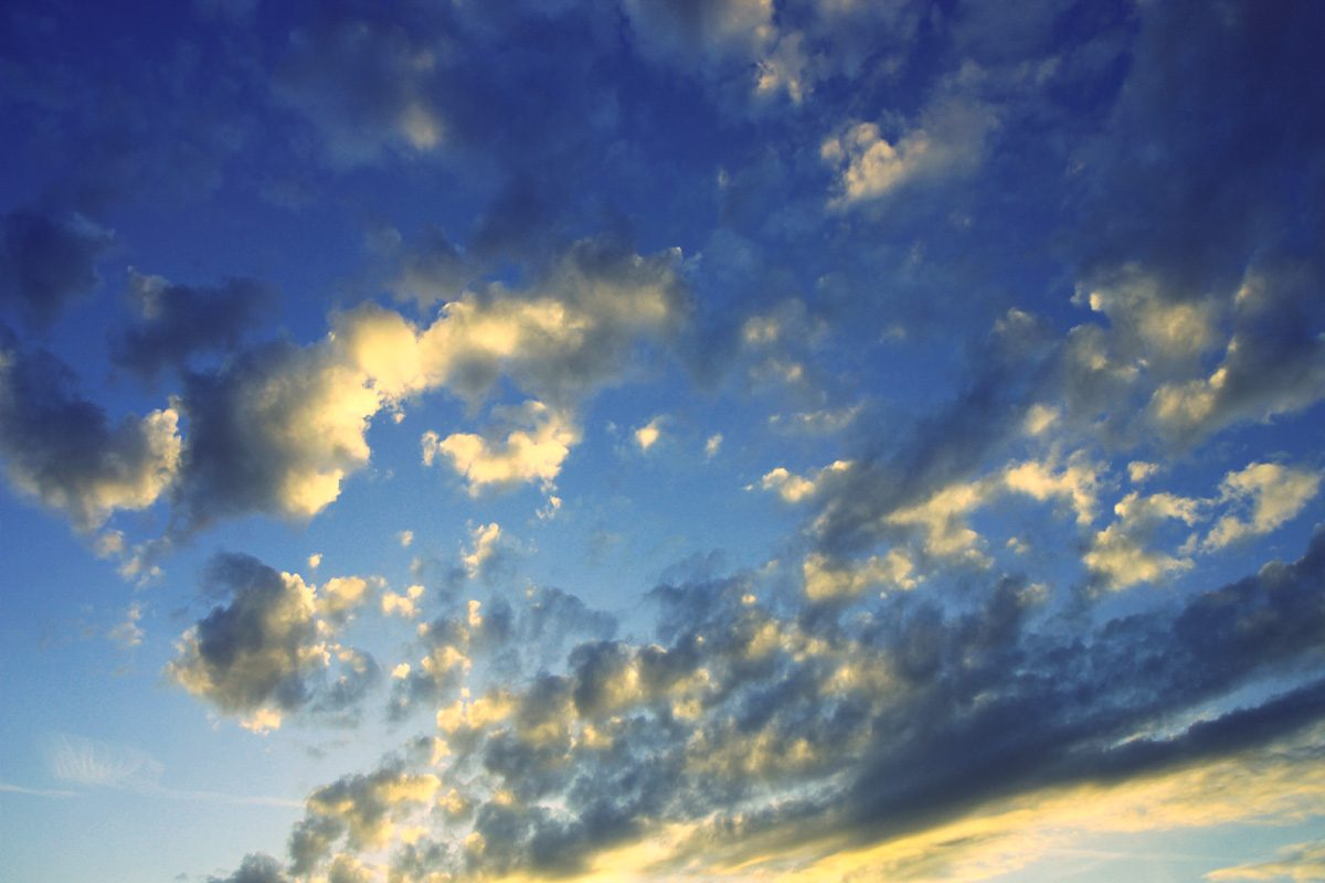 Sunkissed cloudy sky