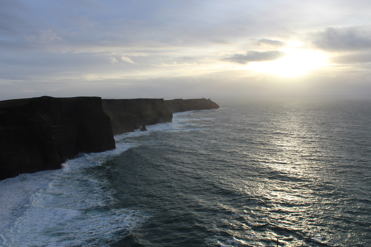 Romantic sunset at the cliffs of Moher