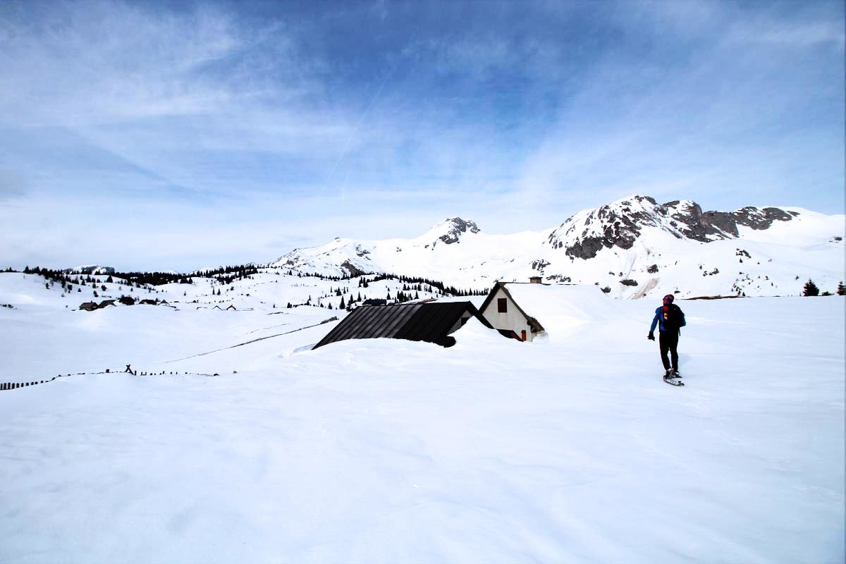 Snowshoe hiking in Austria